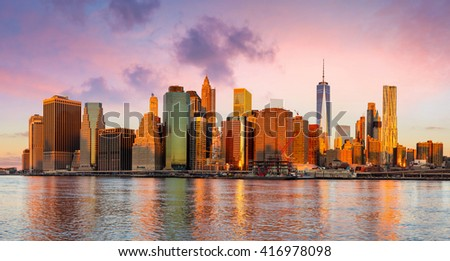 New York City Panorama - Manhattan and business district at the early morning, gentle sun colors,  big size - stock photo