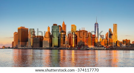 New York City Panorama - Manhattan and business district at the morning, gentle sun colors, very big size - stock photo