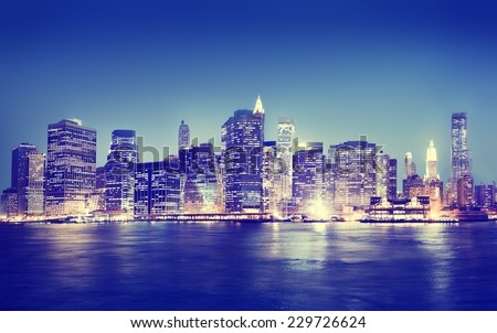 New York City Panorama Night Concept - stock photo
