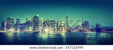 New York City Panorama Night Concept - stock photo