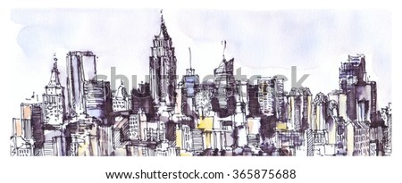 New York city panorama. Watercolor, ink graphic. Architecture - stock photo