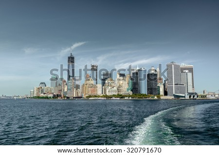 New York City panorama with Manhattan Skyline over Hudson River. NewYork City, USA  - stock photo