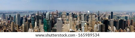 New York City - Panoramic Manhattan skyline from the Empire State Building - stock photo