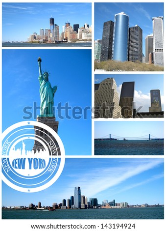 New York City postcard collage on white background - stock photo