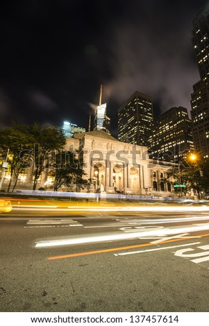 New York City Public Library at Night Long Exposure shot of blurred cars - stock photo