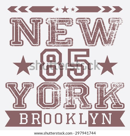New York City retro vintage typography poster, t-shirt Printing design,  Badge Applique Label, raster. - stock photo