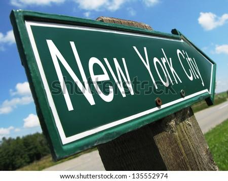 New York City road sign - stock photo