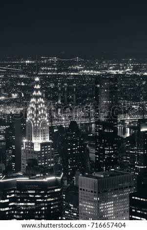 chrysler building at night black and white. new york city sep 11 chrysler building at night on september 2015 black and white d