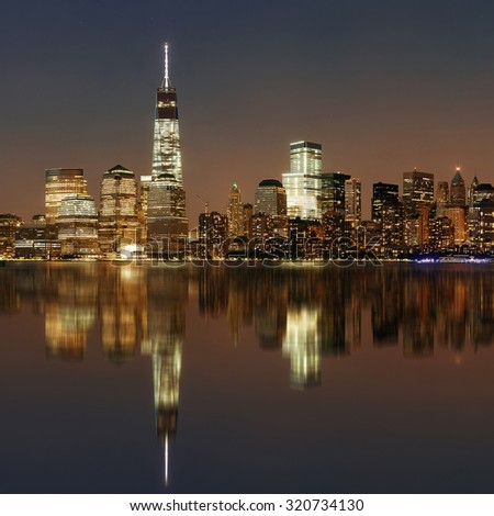NEW YORK CITY- SEP 20: One World Trade Center out focus at night on September 20, 2013 in New York City. It is the 4th highest building in the world.. - stock photo