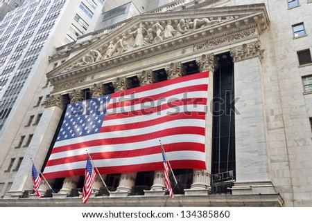 NEW YORK CITY - SEP 3: The New York Stock Exchange on Wall Street on September 3, 2011 in New York City. The NYSE is one of the most important stock exchanges worldwide. - stock photo