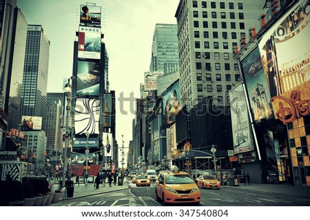 NEW YORK CITY - SEP 5: Times Square street view on September 5, 2014 in Manhattan, New York City. Featured with Broadway Theaters and LED signs, it is a symbol of New York City and the United States,  - stock photo