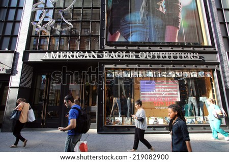 NEW YORK CITY - SEPT. 10, 2014: An American Eagle Outfitters store in New York City, on Wednesday, September 10, 2014. American Eagle Outfitters is a clothing and accessories retailer - stock photo