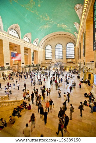 NEW YORK CITY - SEPT 22: Famous New York City landmark Grand Central Station full of tourists and shoppers at Christmas, September 22nd, 2013 in Manhattan, New York City.  - stock photo