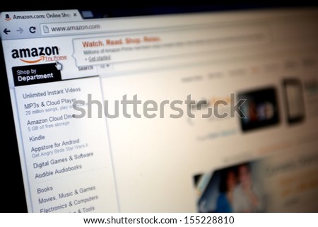 NEW YORK CITY - SEPT. 22: The homepage of online retailer Amazon in New York City on Sunday, September 22, 2013.  - stock photo