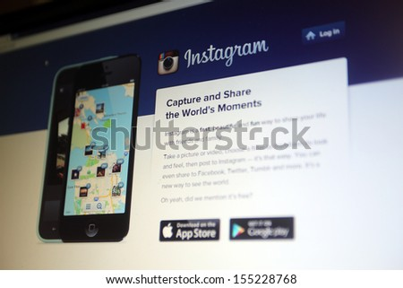 NEW YORK CITY - SEPT. 22: The homepage of photo sharing website Instagram in New York City on Sunday, September 22, 2013.  - stock photo