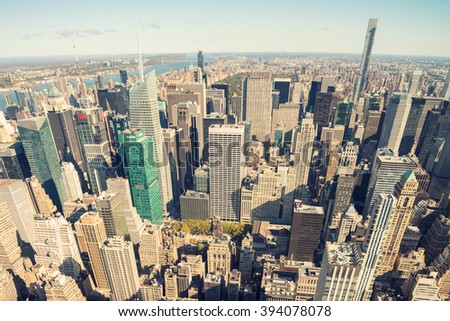 NEW YORK CITY - SEPTEMBER 22, 2015: Beautiful panoramic aerial view of Manhattan. New York attracts 50 million people worldwide annually. - stock photo