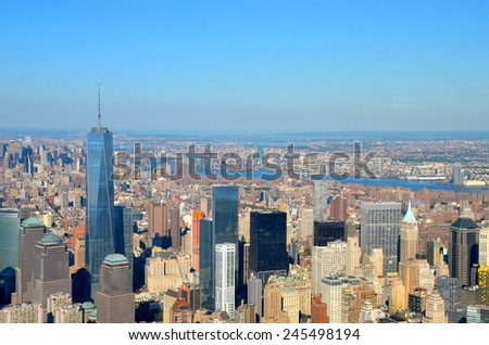 New York City - September 28, 2014: Cityscape view of Manhattan, New York City, USA. - stock photo