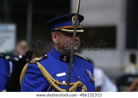 NEW YORK CITY - SEPTEMBER 9 2016: For the first time law enforcement Emerald Society marching bands paraded along Broadway in commemoration of the 15th anniversary of the 911 terrorist attack