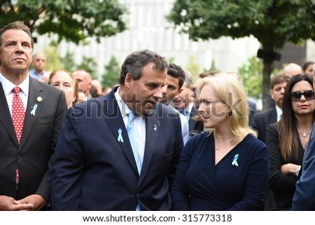 NEW YORK CITY - SEPTEMBER 11 2015: Memorial services were held at Ground Zero to mark the 14th anniversary of the World Trade Center attacks. Gov Andrew Cuomo, Chris Christie & Mary Pat Christie
