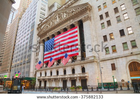 NEW YORK CITY - September 5: New York Stock Exchange building on September 5, 2015 in New York. The NYSE trading floor is located at 11 Wall Street.