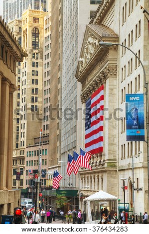 NEW YORK CITY - September 3: New York Stock Exchange building on September 3, 2015 in New York. The NYSE trading floor is located at 11 Wall Street and is composed of 4 rooms for trading.