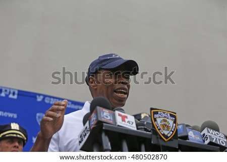 NEW YORK CITY - SEPTEMBER 5 2016: NYC mayor Bill de Blasio hosted a post-breakfast press conference to discuss the incidents that plagued Jouvert. Brooklyn borough president Eric Adams