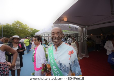 NEW YORK CITY - SEPTEMBER 5 2016: NYC mayor Bill de Blasio led the traditional West Indian Day Parade breakfast at Lincoln Terrace Park. Grand marshal Conrad Ifill