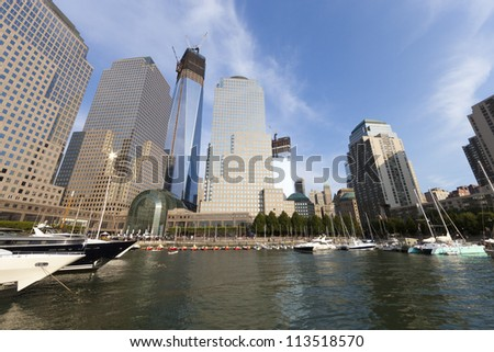 NEW YORK CITY - SEPTEMBER 17: One World Trade Center (formerly known as the Freedom Tower) is shown under construction on September 17, 2012 in New York, New York. - stock photo