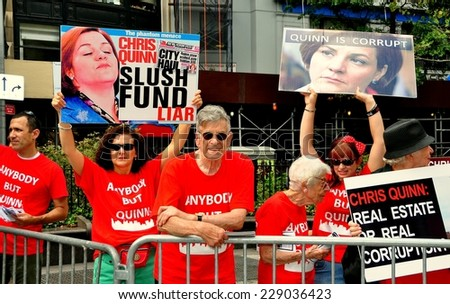 New York City - September 7, 2013:  Protesters demonstrate against Democratic mayoral candidate Christine Quinn at a rally in Verdi Park prior to the 2013 primary election