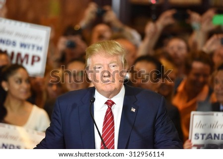 NEW YORK CITY - SEPTEMBER 3 2015: Republican presidential candidate Donald Trump announced he signed a pledge not to run as an independent candidate should he fail to win the party's 2016 nomination. - stock photo