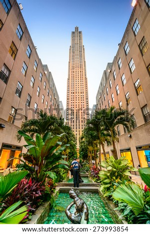 NEW YORK CITY - SEPTEMBER 11, 2012: Rockefeller Center in the summer.  Built in 1939 by the Rockefeller Family, the 19 building complex was declared a National Historic Landmark in 1987. - stock photo