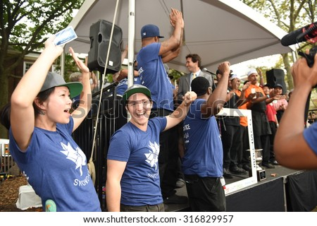 NEW YORK CITY - SEPTEMBER 12 2015: The eleventh annual Vendy awards for the best in street food were held on Governor's Island with 25 finalists in competition. Snowday wins Vendy Award