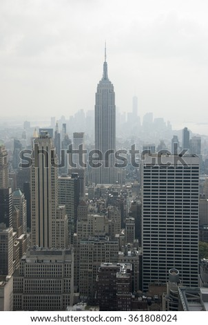 NEW YORK CITY - SEPTEMBER 4: The Empire State Building on September 5, 2015 in New York, USA. The Empire State Building is a 102-story landmark and American cultural icon in New York City. - stock photo