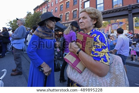 NEW YORK CITY - SEPTEMBER 25 2016: the 42nd annual Atlantic Antic filled Brooklyn's longest street from Hicks St to Third Avenue with vendors & customers.