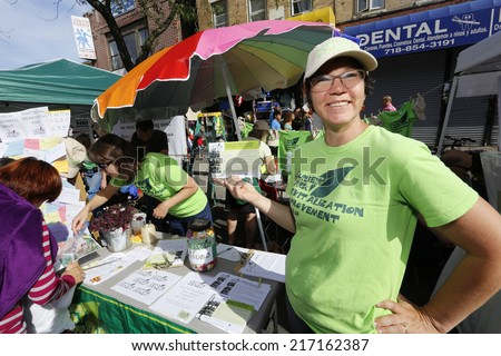 NEW YORK CITY - SEPTEMBER 14 2014; the Sunset Park Business Improvement District sponsored its annual Fifth Avenue Fair permitting local businesses to reach area residents & provide fun for families