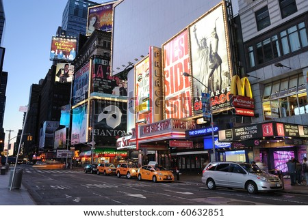 NEW YORK CITY - SEPTEMBER 5: Theater billboards are the trademark of Times Square September 5, 2010 in Times Square New York, New York.