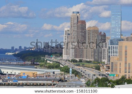 NEW YORK CITY - SEPTEMBER 8: View of Henry Hudson Highway (West Side) in Manhattan, as seen on September 8, 2013. New York is the largest city by population in the US..