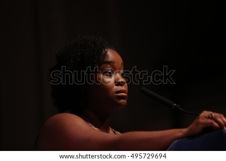 NEW YORK CITY - SEPTEMBER 21 2016: VOCAL NY, Voices of Community Activists & Leaders, staged its anniversary gala & awards ceremony at Roulette in Brooklyn. Kassandra Frederique, dir of NY Drug Policy