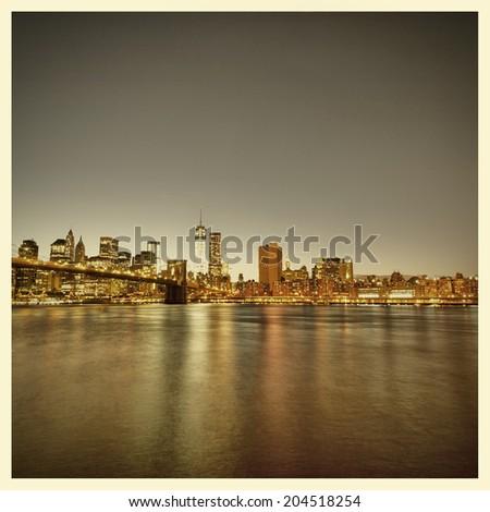 New York City Skyline and Brooklyn Bridge with instagram style effect - stock photo
