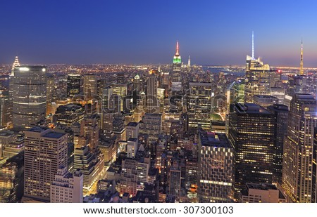 New York City skyline at dusk, NY, USA