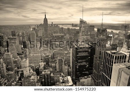 New York City skyline black and white with urban skyscrapers at sunset. - stock photo