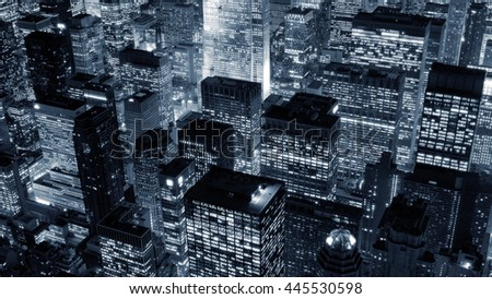 new york city skyline cityscape at night background. dramatic aerial shot of urban metropolis scenery