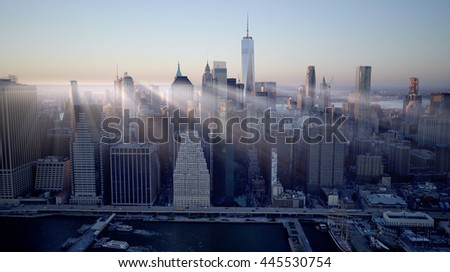new york city skyline cityscape background. dramatic aerial shot of urban metropolis scenery
