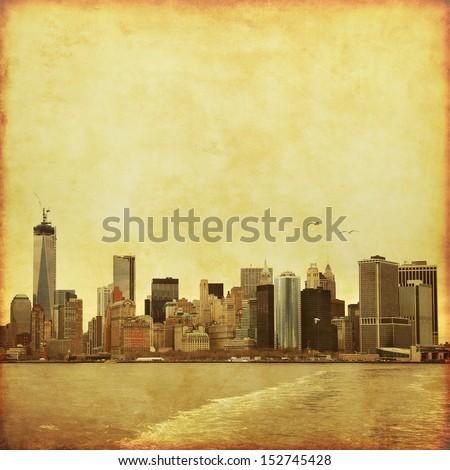 New York City skyline in grunge and retro style.  - stock photo