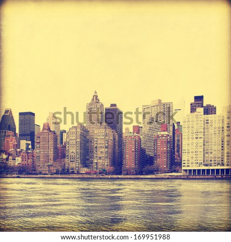 New York City skyline in grunge and retro style. - stock photo
