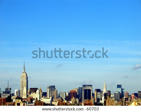new york city skyline - lower manhattan and Empire State Building