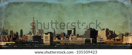 New York City skyline, Lower Manhattan, with digital grunge effect.