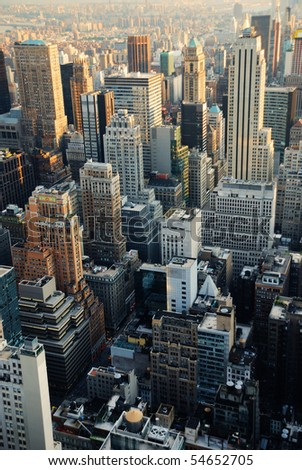 New York City skyline. Manhattan aerial view.
