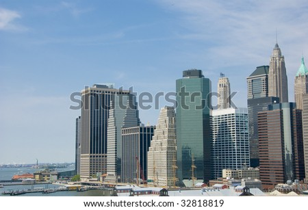 New York City skyline of downtown finance district