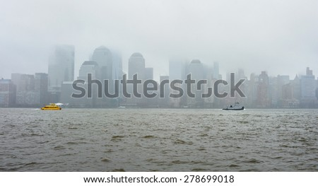 New York City skyline on a rainy day - stock photo